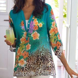 Soft Surroundings Sheer Floral Print Tunic Top